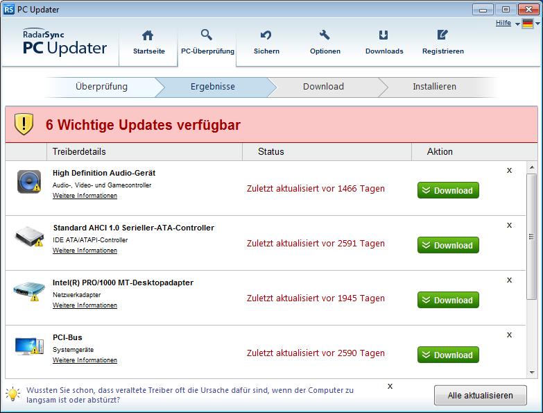 PC Updater aktualisiert alte Treiber